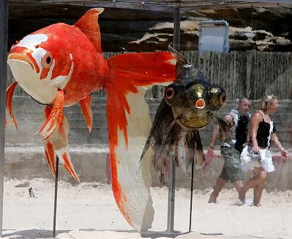 """""""Kingyo"""" der japanisch-australischen Künstlerin Yuko Mamada: Gigantische Goldfische sehnen sich nach Meer"""