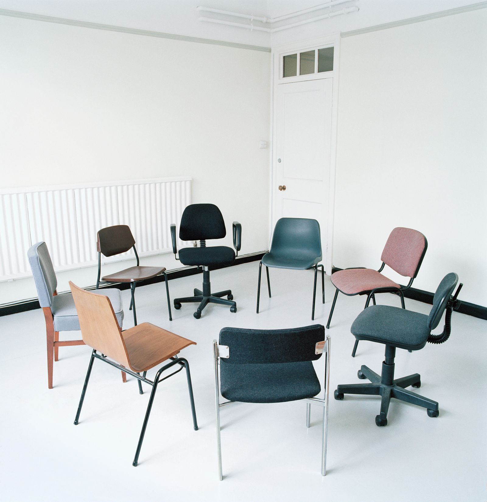 Assortment of office chairs in circle