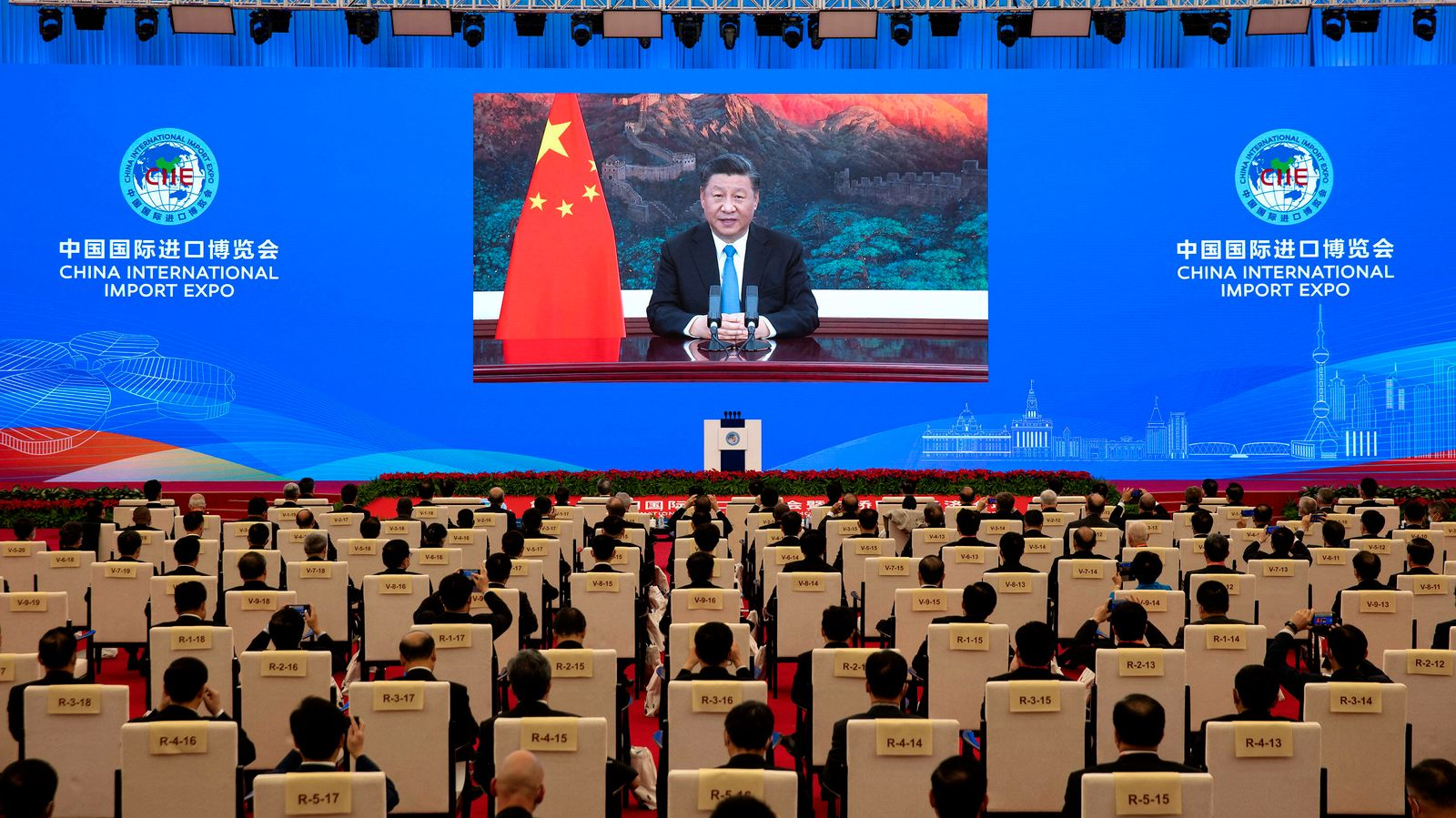 (201104) -- SHANGHAI, Nov. 4, 2020 -- Chinese President Xi Jinping delivers a keynote speech via video at the opening ce