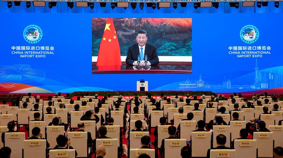 Chinas Führer: Xi Jinping bei einer Videoansprache zur Eröffnung von Chinas dritter Internationaler Importmesse in Shanghai