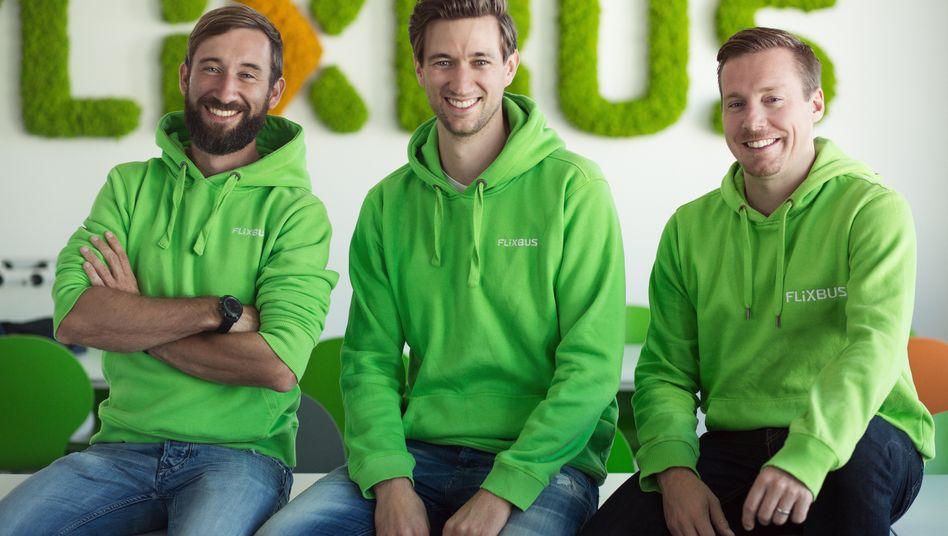 Gründerteam und Geschäftsführer von FlixMobility: Daniel Krauss, Jochen Engert, André Schwämmlein (v.l.n.r.)