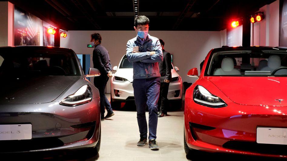 Begehrt auch im Reich der Mitte: Die Nachfrage nach Elektroautomodellen von Tesla in China steigt und zugleich auch die Tesla-Produktion im Werk von Shanghai