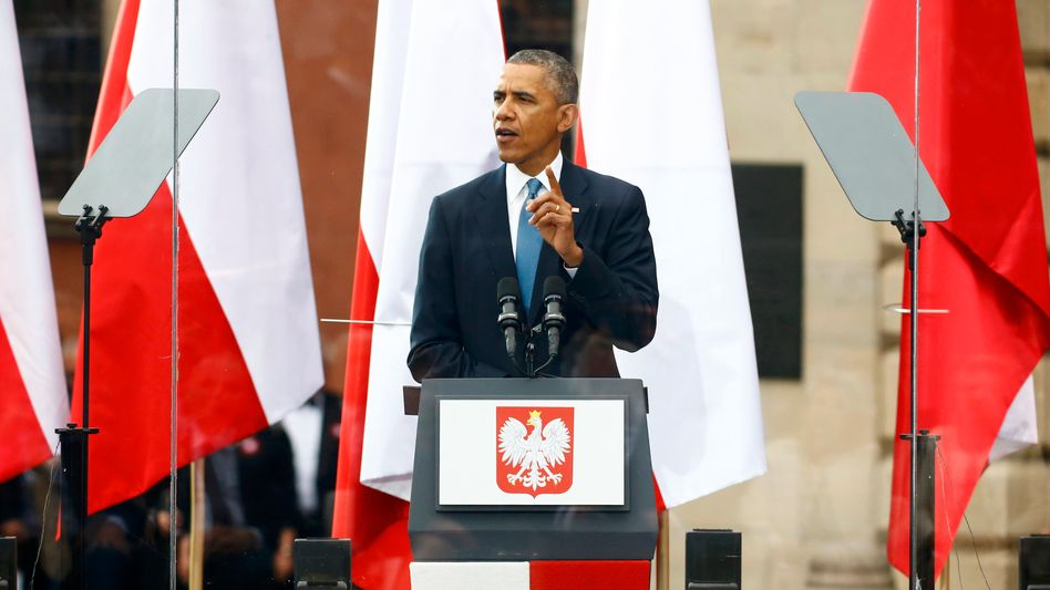 """""""Unverbrüchliche Verpflichtungen"""": US-Präsident Barack Obama sicherte in Warschau den Nato-Mitgliedstaaten in Osteuropa Unterstützung zu, sollten von Russland angegangen werden"""