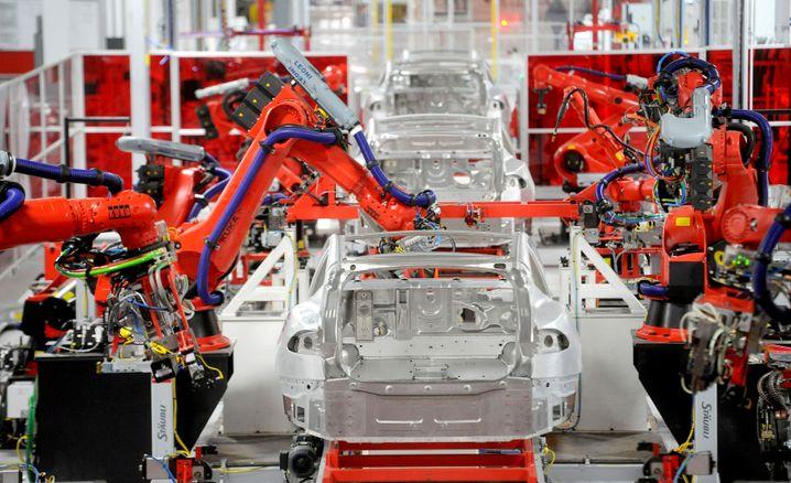 Tesla-Fabrik in Fremont, Kalifornien