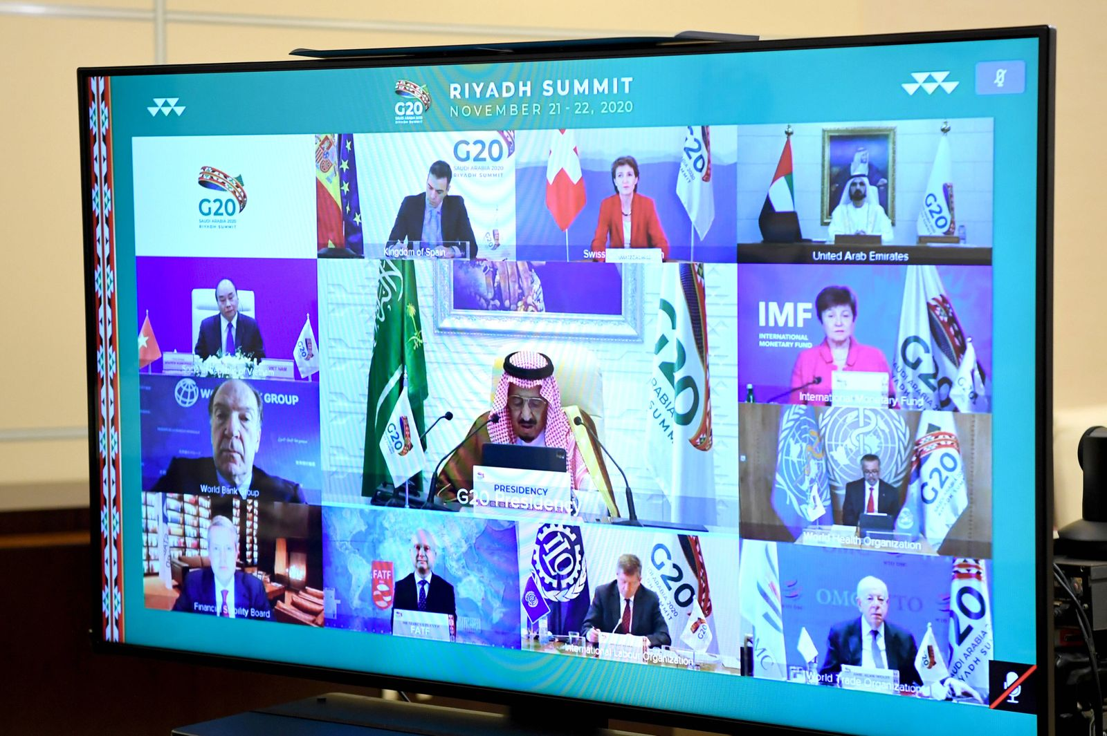 MOSCOW REGION, RUSSIA - NOVEMBER 21, 2020: Seen in this photograph is a video screen in the Russian president s office