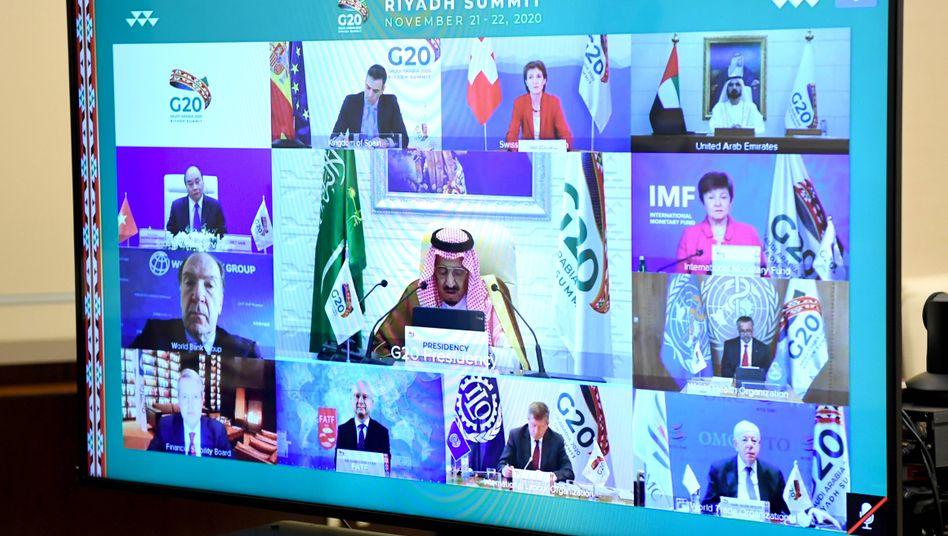 Videokonferenz statt großer Show: Die Staats- und Regierungschefs haben am Wochenende in Videokonferenzen über die Corona-Pandemie und den Klimawandel beraten