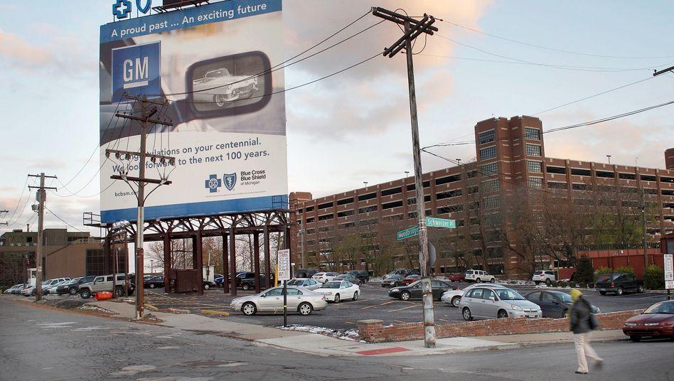 GM-Werbung in Detroit: Nachlassende Gewinndynamik im Vorjahr