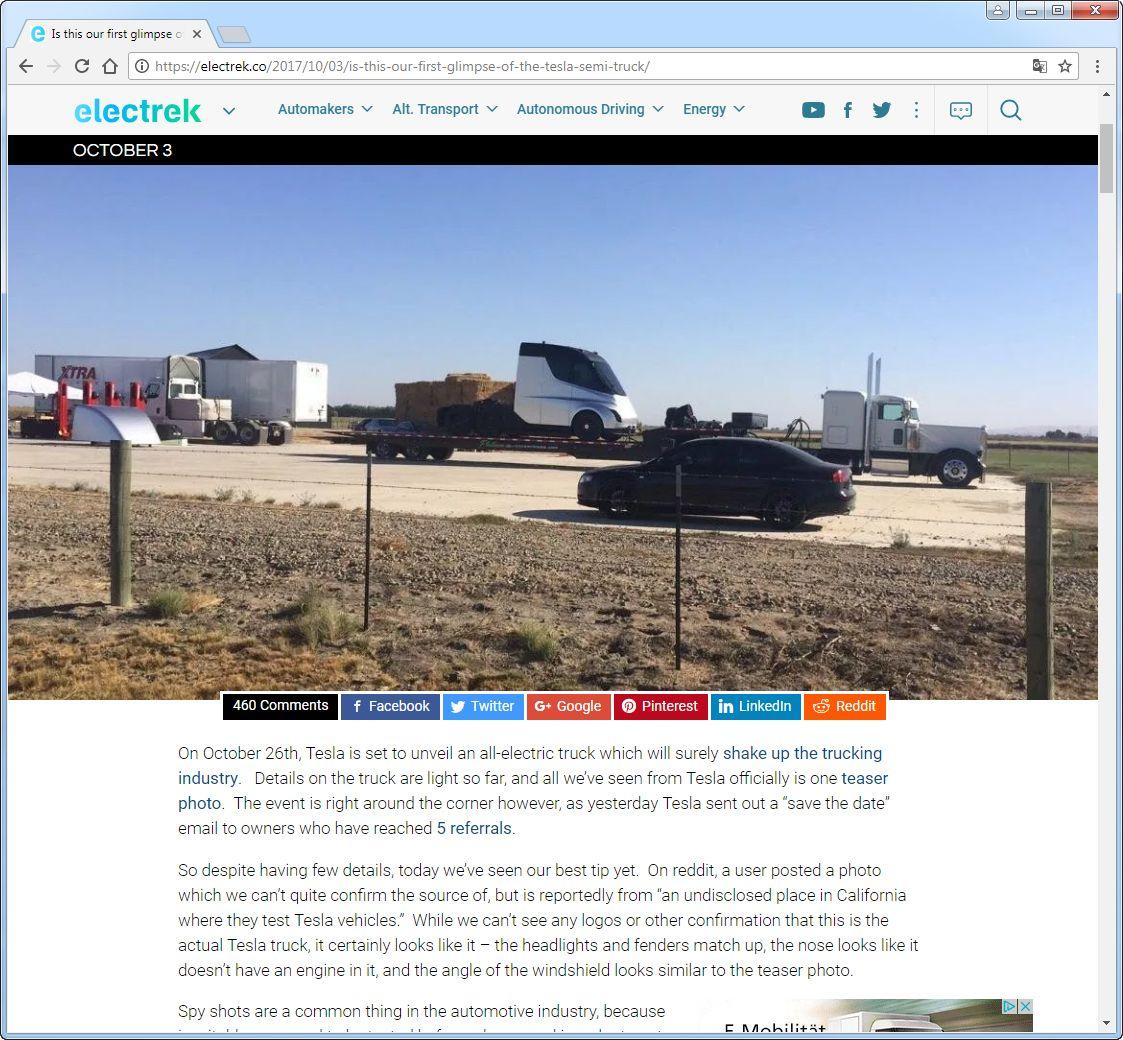 EINMALIGE VERWENDUNG SCREENSHOT Tesla Semi / Elektro-Truck