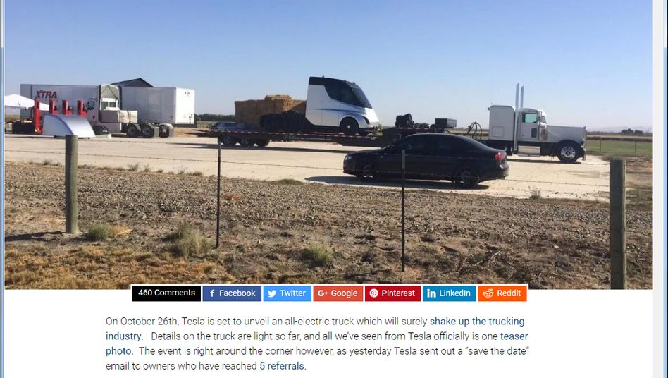 Geheimer Schnappschuss aus Kalifornien: So könnte der neue Elektro-Lastwagen von Tesla aussehen