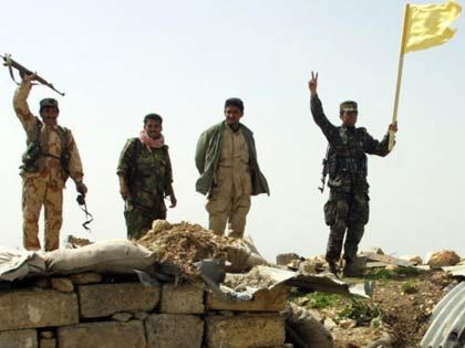 Freude unter den kurdischen Soldaten