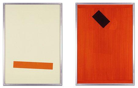 Edition Imi Knoebel, Position I + II: Acryl auf Kunststofffolie gemalt, zwei Blätter, je 99 x 69 Zentimeter, Auflage: 16 Bildpaare, 2009, signiert und nummeriert, gerahmt, 5600 Euro.