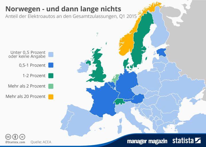 Elektroauto-Europakarte: In einigen Ländern sind Stromer schon stark gefragt (zum Vergrößern bitte klicken)