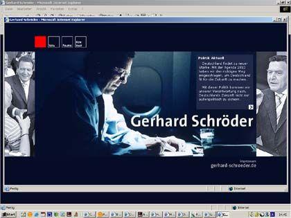 Bei Politikern usus: Die eigene Website (hier ein Screenshot der Homepage von Kanzler Gerhard Schröder)