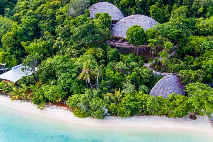"""Das Luxusresort """"Bawah Reserve"""" am südlichen Ende des indonesischen Anamba-Archipels, auf halber Strecke zwischen der malaysischen Halbinsel und Borneo im südchinesischen Meer."""