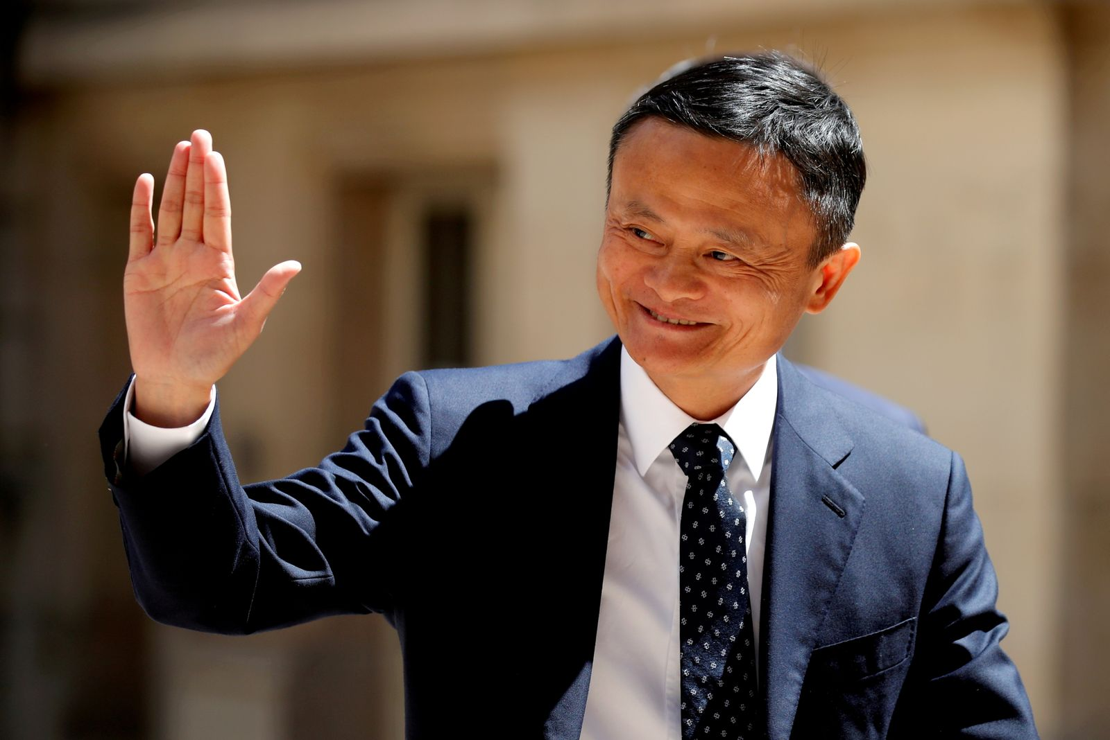 """FILE PHOTO: Jack Ma, billionaire founder of Alibaba Group, arrives at the """"Tech for Good"""" Summit in Paris, France"""