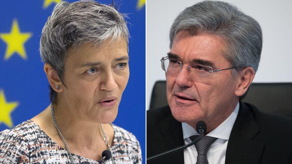 EU-Wettbewerbskommissarin Margrethe Vestager und Siemens-Chef Joe Kaeser