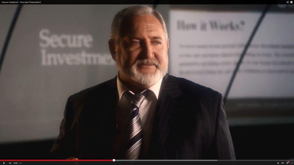 Ausschnitt aus Secure-Investment-Werbevideo mit dem angeblichen Firmenchef Michael Sterling: Renditen von einem Prozent pro Tag