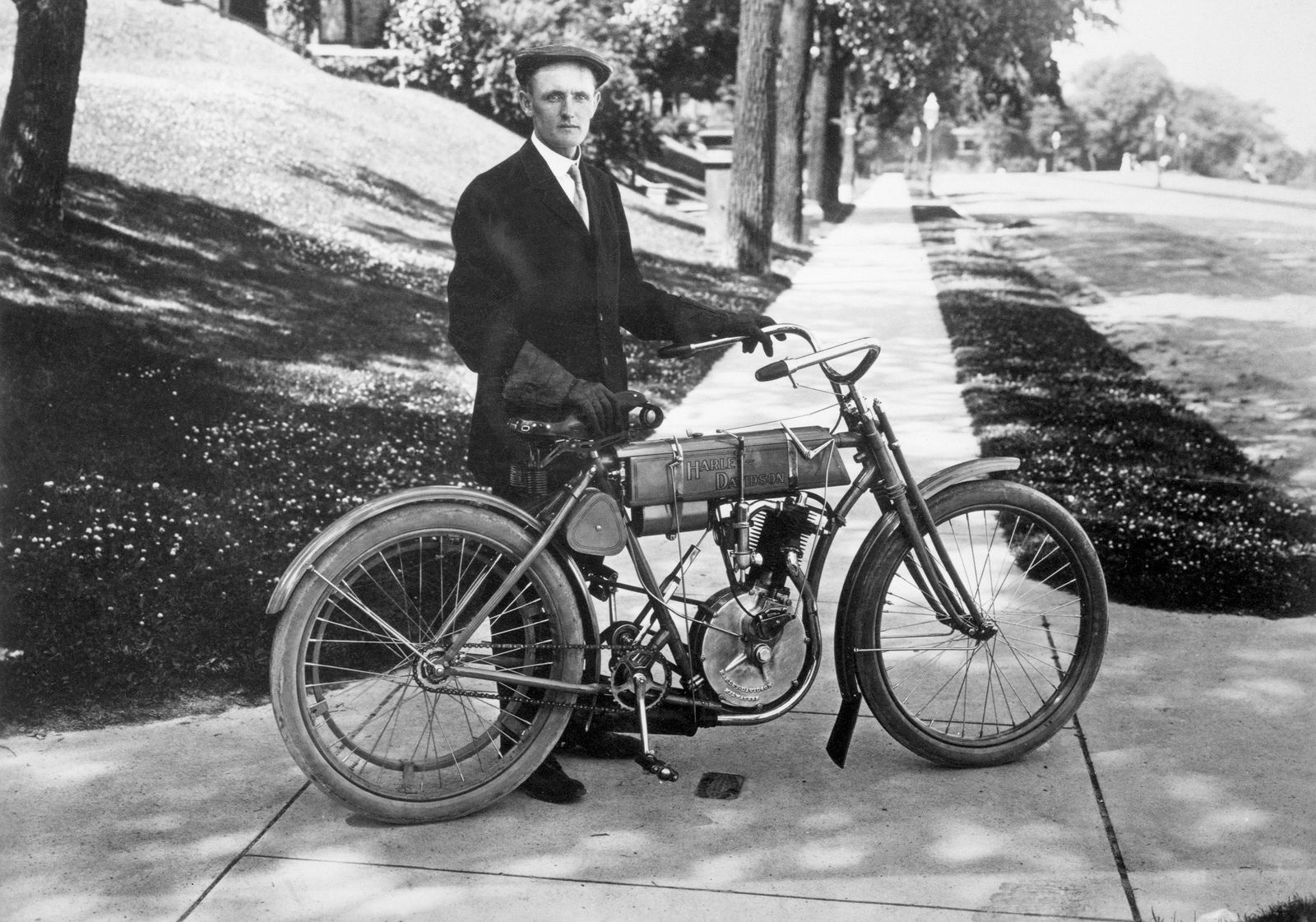 Walter Davidson Poses With His Bike