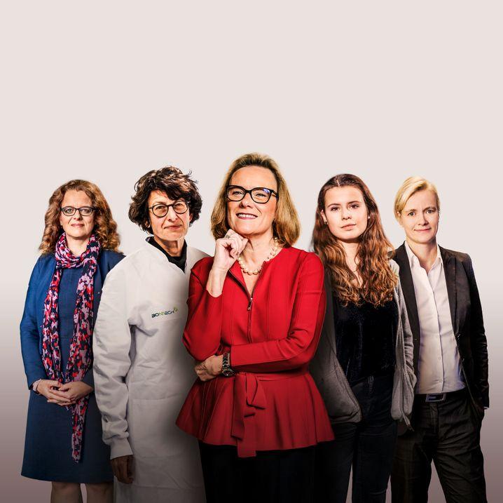 Fünf aus 100: EZB-Direktorin Isabel Schnabel, Impfstoffforscherin Özlem Türeci, Merck-Vorständin Belén Garijo, Klimaaktivistin Luisa Neubauer, Konzernchefin Carla Kriwet