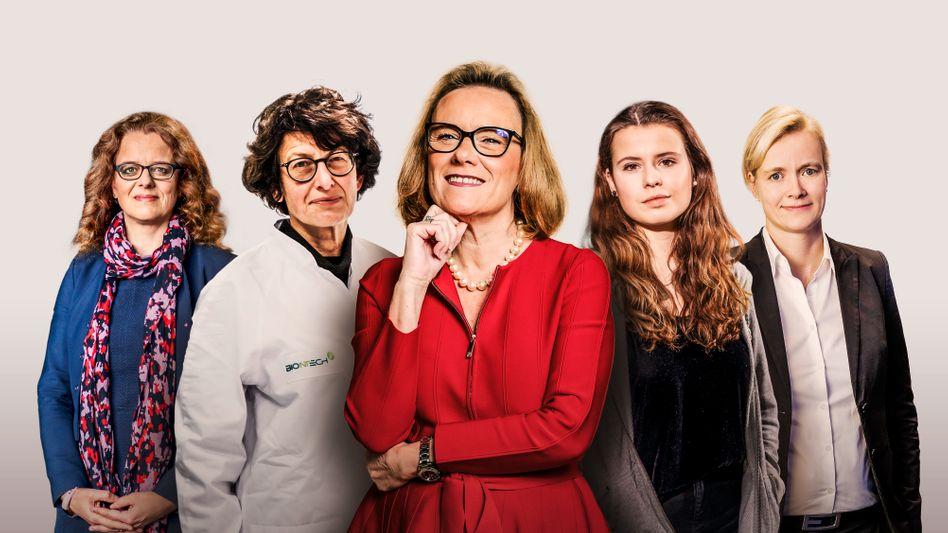 Neue Gesichter an der Macht: Isabel Schnabel, Özlem Türeci, Belén Garijo, Luisa Neubauer und Carla Kriwet (v. l. n. r.)
