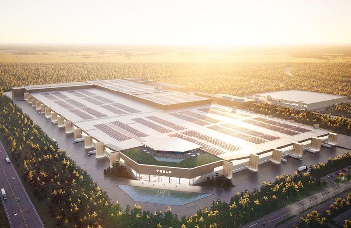 Entwurf der Tesla-Fabrik in Grünheide: In der Realität ist auf der Baustelle noch nicht so viel zu erkennen