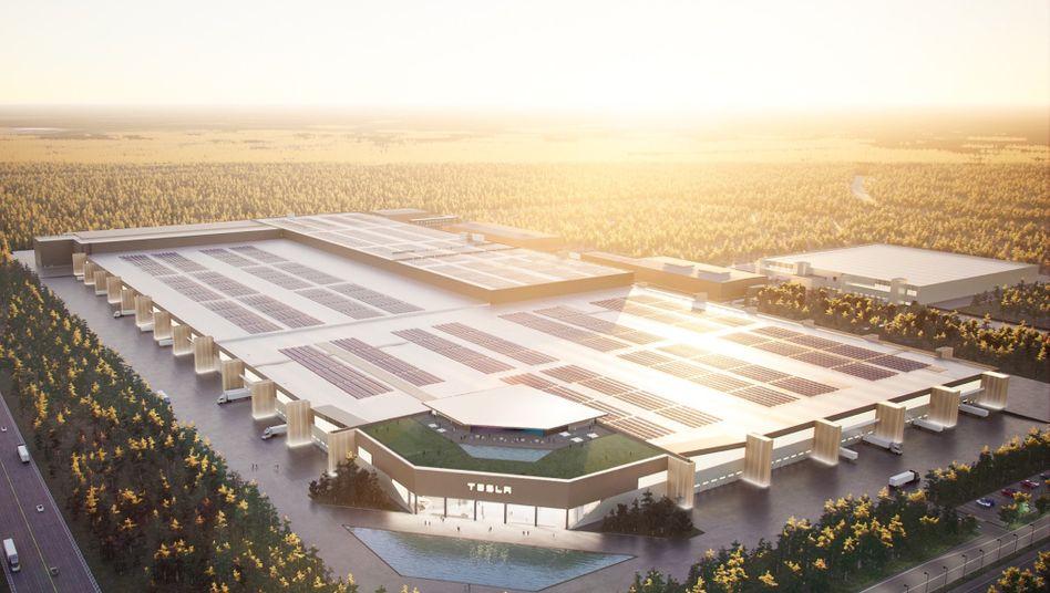 Computergeneriertes Bild der geplanten Tesla-Autofabrik in Grünheide bei Berlin