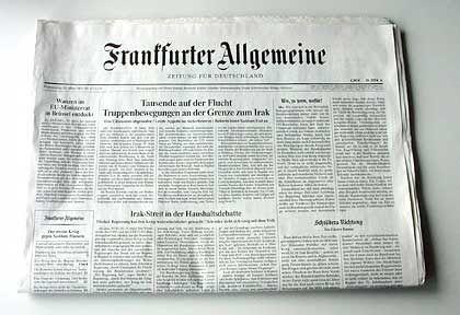 """Die Donnerstagausgabe der """"FAZ"""""""