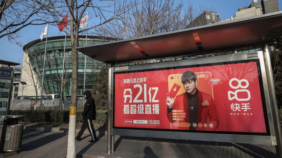 Kuaishou-Werbung in Peking: Die Video-App geht in Hongkong an die Börse