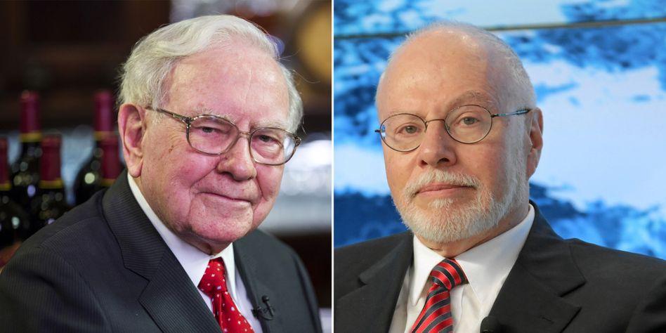 Kampf um einen Stromversorger: Investor Warren Buffett (l.) drückt im Wettstreit mit Hedgefonds-Chef Singer um Oncor aus Texas aufs Tempo