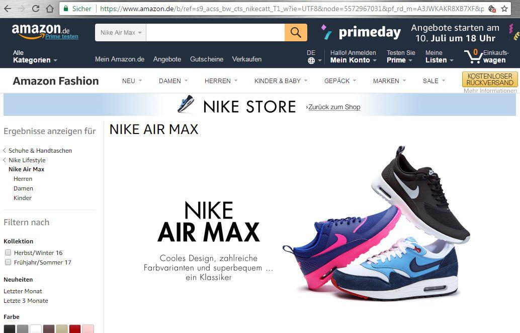 Screenshot Nike bei amazon