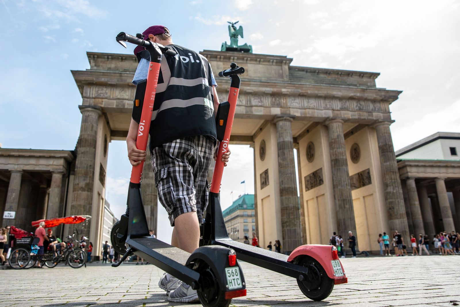 VOI Hunter, electric scooter chargers in Berlin, Germany - 07 Aug 2019
