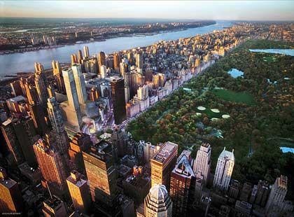 Hochhäuser am Hudson: Der Fluss fließt am Westufer Manhattans entlang