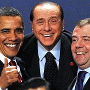 Imagepflege: Berlusconi posiert mit Obama und Medwedew im April auf dem G20-Gipfel