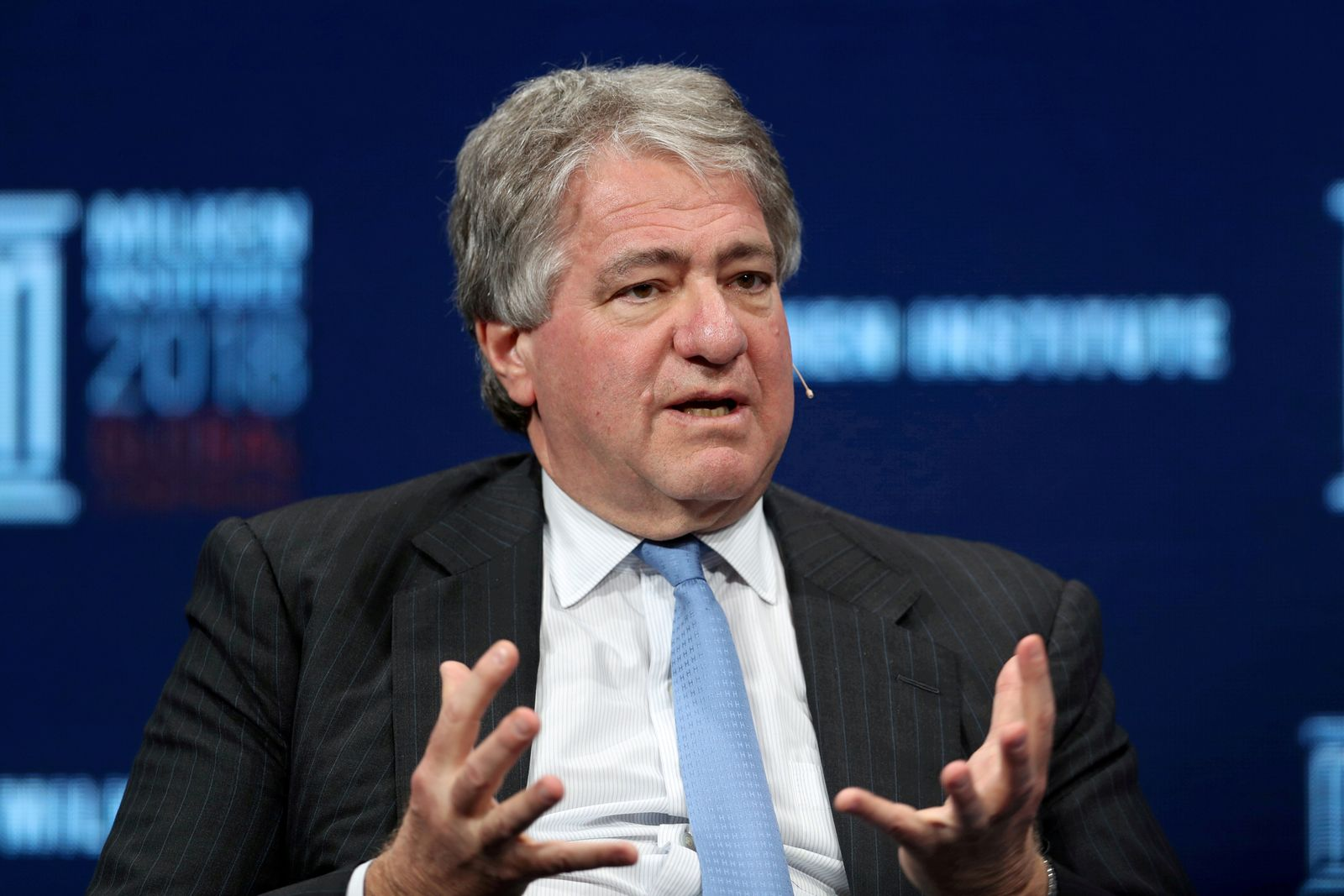 FILE PHOTO: Leon Black has resigned as CEO of Apollo Global Management, LLC, speaks at the Milken Institute's 21st Global Conference in Beverly Hills