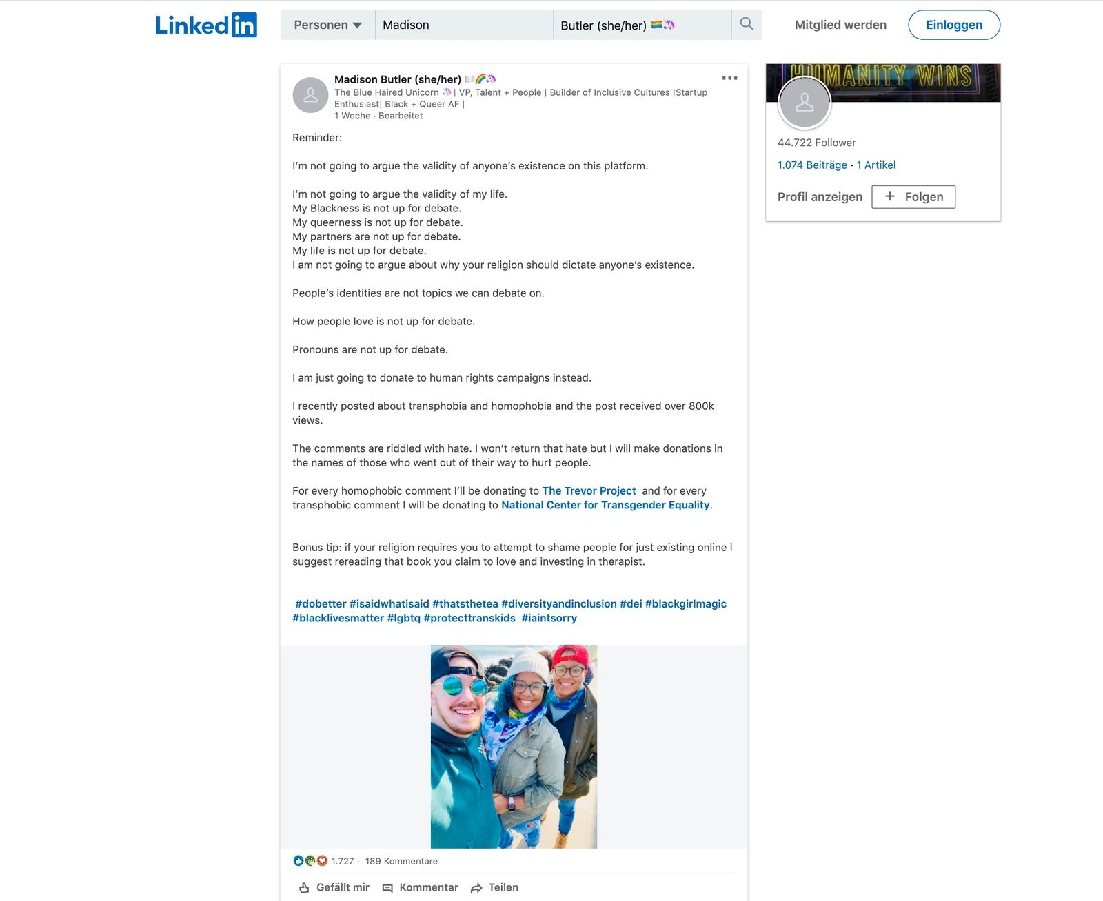 Madison Butler auf LinkedIn