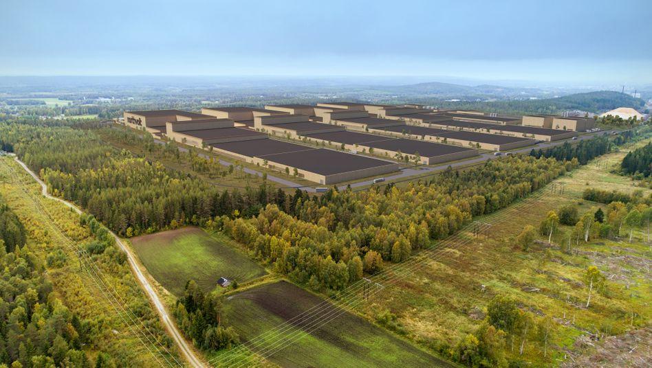 Skizze der geplanten Batteriefabrik von Northvolt
