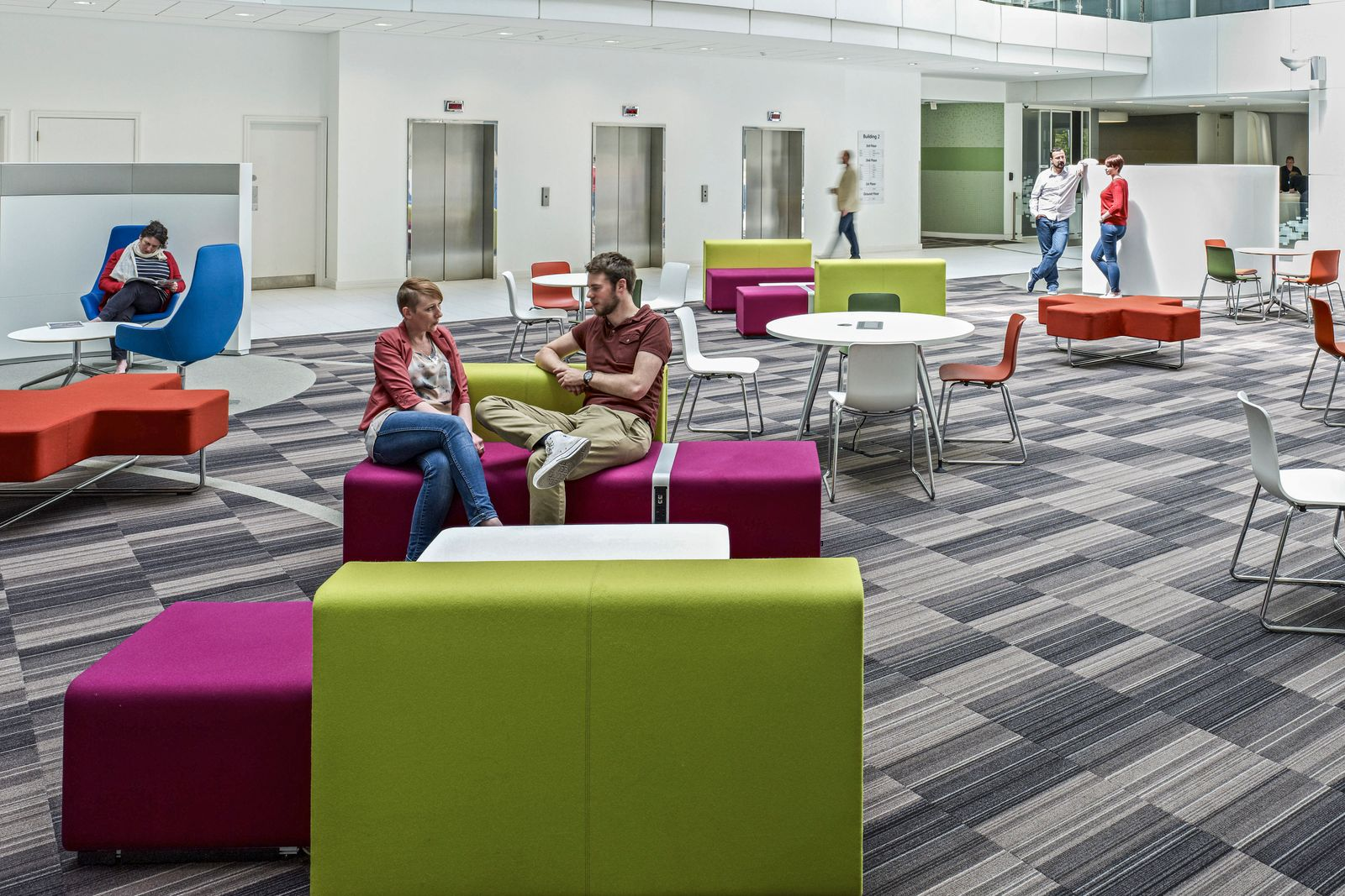 Lounge area with seating in Microsoft Campus Thames Valley Park Reading England UK United Kingdo