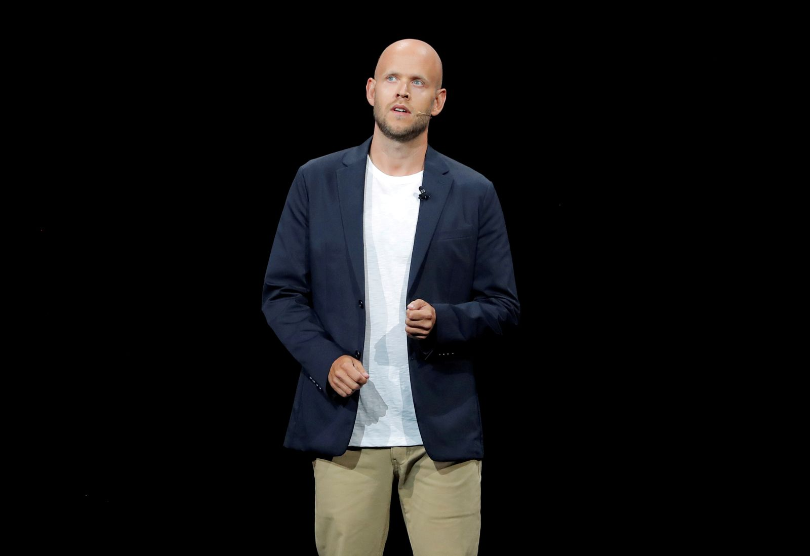 FILE PHOTO: Daniel Ek, CEO of Spotify speaks at a Samsung product launch event in Brooklyn