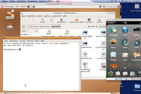 Sun VirtualBox: Die Virtualisierungs-Software ermöglicht es, mehrere virtuelle Rechner auf einem Computer zu betreiben. Hier laufen Mac OS X, Ubuntu Linux und Palms WebOS einträchtig parallel