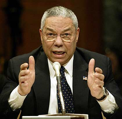 """Maßnahmen diplomatischer, wirtschaftlicher oder anderer Art prüfen"""": US-Außenminister Powell"""