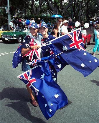 Union Jack und Kreuz des Südens: Die Australier sind am 26. Januar im Flaggenrausch