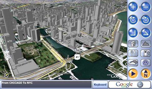 Wegweiser: Straßenschluchten in 3D