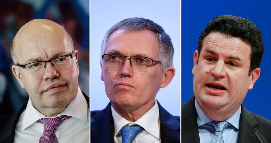 Wirtschaftsminister Peter Altmaier, Carlos Tavarez, Arbeitsminister Hubertus Heil: Zwei Bundesminister laden ein - und der Chef der Opel-Mutter PSA kommt nicht