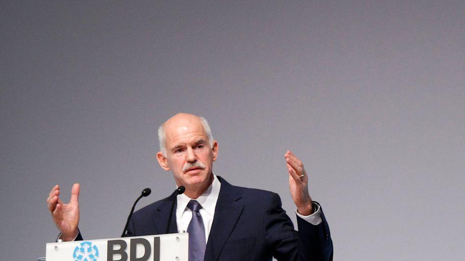"""""""Yes we can"""": In Anlehnung an US-Präsident Barack Obama beteuert Griechenlands Premier Papandreou, dass der überschuldete Staat seine Schulden zurückzuzahlen könne"""