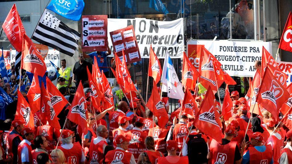 Demonstration bei PSA Peugeot Citroën im Juli dieses Jahres: Unternehmen macht hohe Verluste