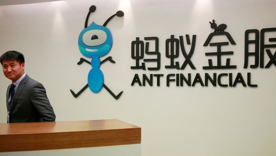 Empfangsdesk von Ant Financial in Hangzhou, China: Die Alibaba-Tochter steht unter strenger Beobachtung der Behörden