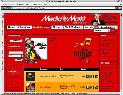 Die Handelskonzerne spielen längst mit: Downloadseite von Media Markt