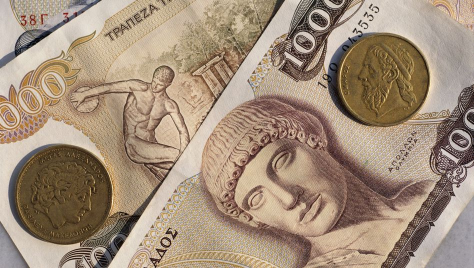 """Griechische Drachme: Beobachter in Brüssel bezeichnen das Hilfsgesuch Griechenlands, das voller Doppeldeutigkeiten steckt, eher als """"Trojanisches Pferd"""" denn als Verhandlungsbasis. Mit ihrem Pokerspiel droht die Athener Regierung den Euro endgültig zu verspielen - die """"neue Drachme"""" dürfte sofort dramatisch gegenüber dem Euro abwerten"""