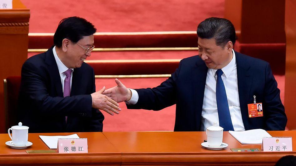 Geht doch: Chinas Machthaber Xi Jinping (rechts) und Zhang Dejiang, Vorsitzender des Nationalen Volkskongresses, der gerade in Peking abgehalten wird.