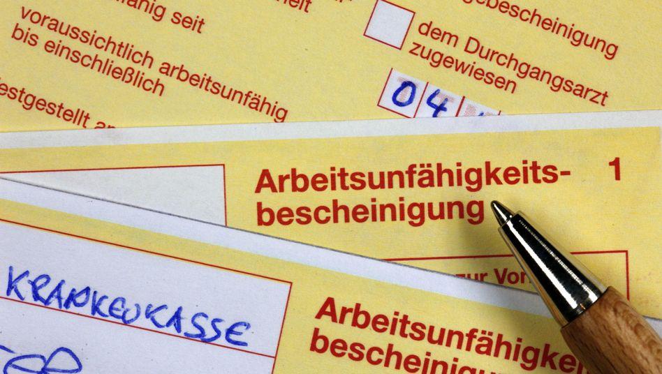 Gelber Schein: Die Fehlzeiten von Millionen TK-Versicherten in Deutschland waren im vergangenen Jahr leicht rückkäufig